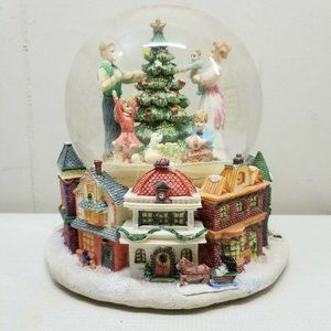 Snow Globe White Christmas Holiday Decor Tree